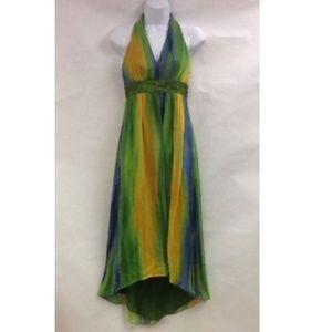 NEW Laundry Shelli Segal Gown Sz 0 Blue Green Bead